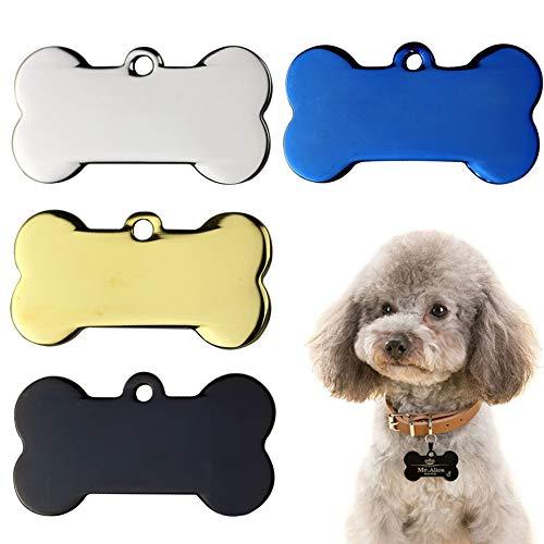 WENTS 4PCS Etiquetas Identificación Mascotas Acero