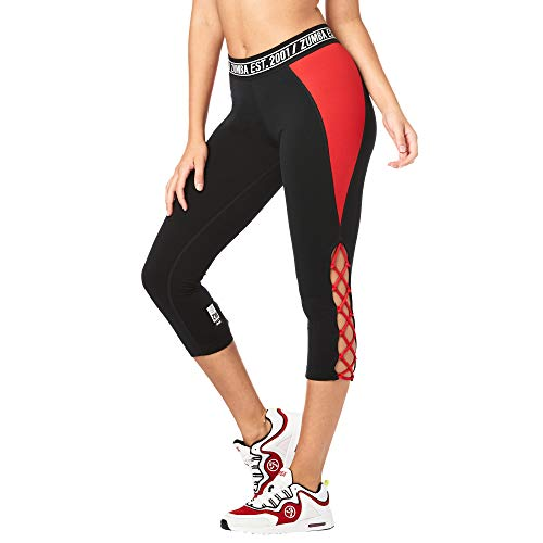 Zumba Fitness Weit Jacquard Bund Kompression Capri Hosen Workout Leggings Damen, Bold Black, S