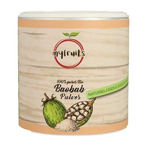 myfruits® Bio Baobab Pulver - ohne Zusätze, zu 100% aus Baobab, gefriergetrocknet, Fruchtpulver für Smoothie, Shakes & Joghurt (200g)