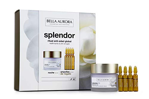 Bella Aurora Pack Splendor10 Noche 50ml + Ampollas Vitamina C (4) Bella Aurora 1 Unidad 100 ml, Dorado