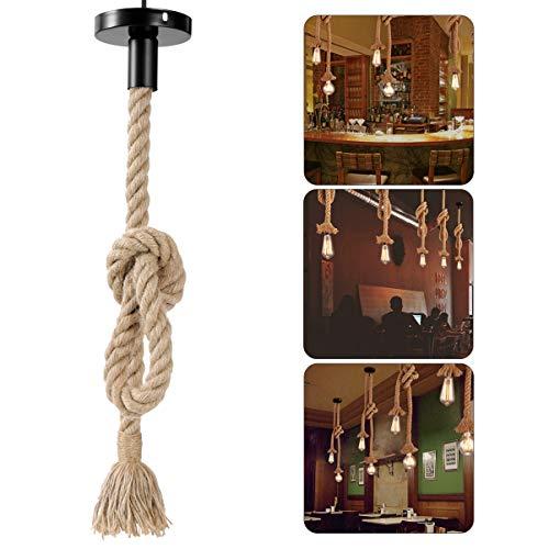 LEDMOMO 1M Vintage Cuerda de canamo gruesa sola cabeza colgante de canamo lampara de cuerda luces colgantes para el restaurante del dormitorio Cafe Bar Decoracion de estilo rural