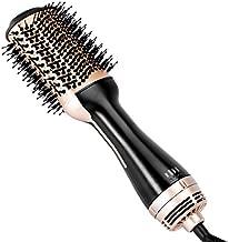 Beautimeter Hot Air Brush, Hair Dryer Brush & Volumizer, 3 in 1 Negative Ionic Hair Styler for Straightening, Curling, 1000W, Black & Gold