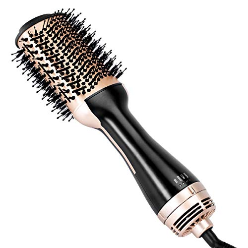 Beautimeter Hair Dryer Brush, 3-in-1 Round Hot Air Spin Brush Kit for Styling and Frizz Control, Negative Ionic Blow Hair Dryer Brush Volumizer, 2 Detachable Auto-Rotating Curling Brush, Black & Gold