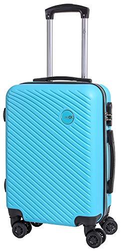 CABIN GO MAX 5508 Valigia Trolley ABS, bagaglio a mano 55x37x20, Valigia rigida, guscio duro e antigraffio con 8 ruote, Ideale a bordo di Ryanair, Alitalia, Air Italy, easyJet, Lufthansa AZZURRO