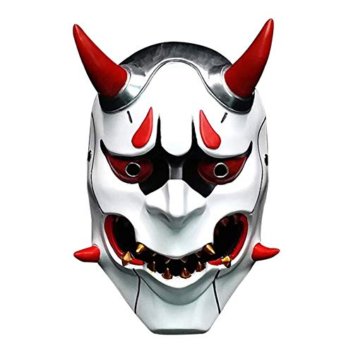 LIULINAN Halloween Horror Maske Japan Harajuku Japanischen Geister Krieger Gespenst Gesicht Teufel Japanischen Bösen Maske Gruselig