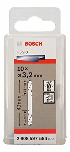 Bosch Professional Doppelendbohrer HSS-G geschliffen (10 Stück, Ø 3,2 mm)