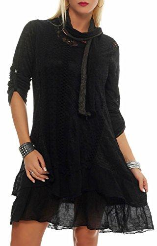 Malito Damen Strickkleid mit Schal | Maxikleid mit Spitze | schickes Freizeitkleid | Pullover - Kostüm 6283 (schwarz)