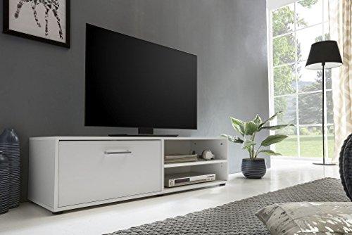 Dreams4Home TV-Lowboard 'Riolo I' - Schrank, TV-Möbel, Phono Möbel, Lowboard, Kommode, Aufbewahrung, B/H/T: 120 x 34 x 37 cm, 2 offene Fächer, 1 Klappe, in Beton/weiß oder weiß, Farbe:Weiß
