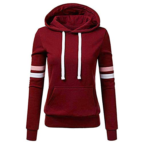 TOPKEAL Frauen Hoodie Pullover Damen Kapuzenpullover Streifen Sweatshirt Winterpullover Langarm Jacke mit Kapuze Tasche Mantel Tops Blouse Pulli (Wein, L)