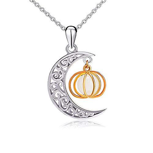 HLCE Halloween Schmuck Sterling Silber Crescent Moon Luminous Perlen Teufel Wald Kürbis Charm Anhänger Halskette (Farbe : B)