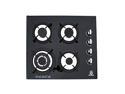 Supra 4Q-EC-N Parrilla de Empotrar 4 Quemadores en Cristal Templado, color Negro