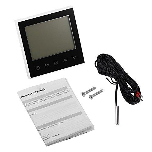 Termostato de aire acondicionado, pantalla táctil digital LCD termostato programable controlador de temperatura inteligente, accesorios de mejoras para el hogar(negro)