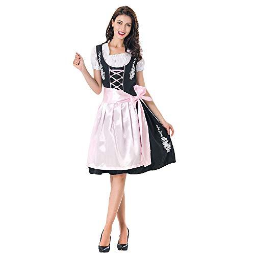 Allence Dirndl 3 TLG.Damen Midi Trachtenkleid für Oktoberfest- Spitzen Kleid, Bluse & Schürze
