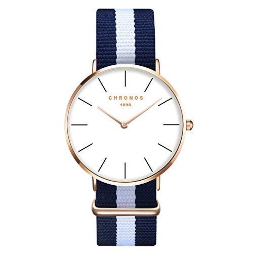 xlordx Mujer Unisex Reloj de Pulsera Elegante Reloj de Cuarzo Reloj Moderna Atemporal Diseño Oro Nylon Azul Blanco