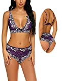 Avidlove Lingerie Lace Babydoll 2 Piece Sexy Bra and Panty Sets Purple M