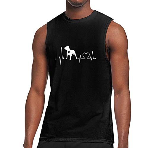 WLQP Camiseta sin Mangas para Hombre Pitbull Heartbeat-1 Men's Jersey Tank Gym Sport Sleeveless Shirt