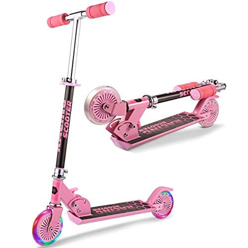 WeSkate Scooter Roller Kinder - Big Wheel Foldable Kick Scooters für Mädchen und Jungen über 3 Jahren, weiches Schieben, Verstellbarer Griff, Roller mit LED Light Up PU-Rädern, leicht