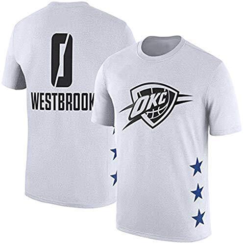LLSDLS Camiseta de Hombre de la NBA Spring All-Star Oklahoma City Thunder Camiseta de Manga Corta con Capucha de algodón Camiseta (Color : White, Size : L)
