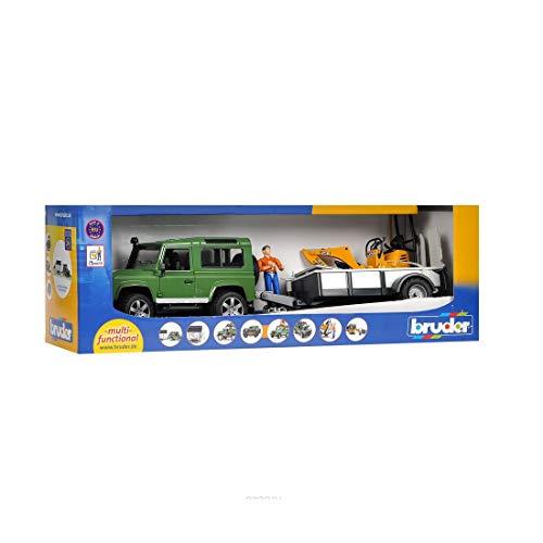 Bruder Profi-Serie Land Rover Defender, Einachsanhänger, JCB Mikrobagger und Bauarbeiter (02593)