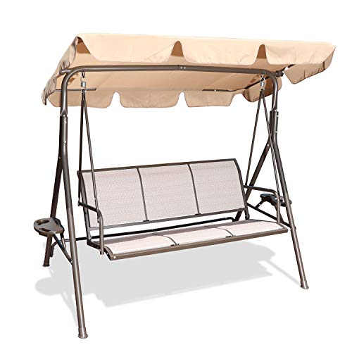 GOLDSUN 3 Person Patio Swing Seat with Adjustable Canopy, All Weather Resistant Hammock Swing Chair Bench for Patio, Garden, Poolside, Balcony (Taupe)