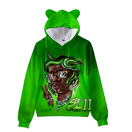 De.Pommeyeux Slime Language 2 Cat Ear Hoodie Hip Hop Sudaderas Casual Sudaderas Chica Mujeres 3D Pullover (KA06589,6XL,)