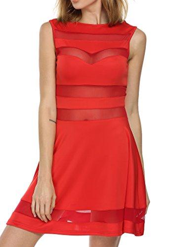 CRAVOG Sommerkleid Mesh Spandex Sexy ärmellos Partykleid elegant Kleider 3Farben