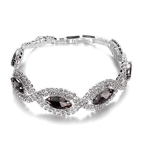 Jewellery Diamond Bracelet Crystal Rhinestone Zircon Cubic Exquisite Fashion Minimalism Party Party Bridal Accessories, Couple Bracelet,Colour:Blue Bracelets Earrings Rings Necklaces (Color : Silver)