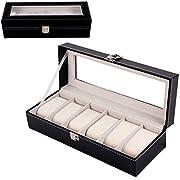 Mbuynow Uhrenkasten 6 Uhren Uhrenbox Uhrenkoffer, Schaukasten Uhrenkasten Uhrenvitrine für 6 Uhren aus kunstleather Uhrenkasten Herren Armbanduhr Box uhrenbox 6 Uhren