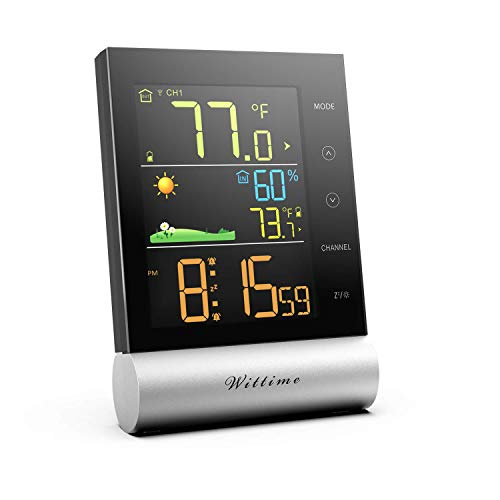 Wittime 2079 Indoor Outdoor Thermometer, Weather Station,Digital Inside Outside Temperatur Monitor, Indoor Humidity Room Hygrometer with Weather Forecast, Clear Color Display, 3 Channels Available