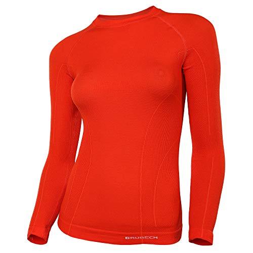 BRUBECK Femme Maillot de Corps Fonctionnel | Manches Longues | Respirant | Thermo | Sport | sous-vêtement | 41% Laine Mérinos | LS12810 S Rouge.