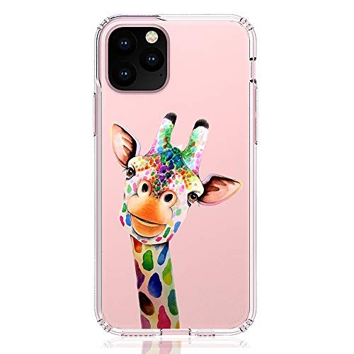 HUIYCUU Compatible with iPhone 11 Pro 5.8' Case, Shockproof Anti-Slip Cute Rose Animal Clear Design Pattern Funny Slim Soft Bumper Girl Women Cover Case for iPhone 11Pro XI Pro (5.8 inches), Giraffe