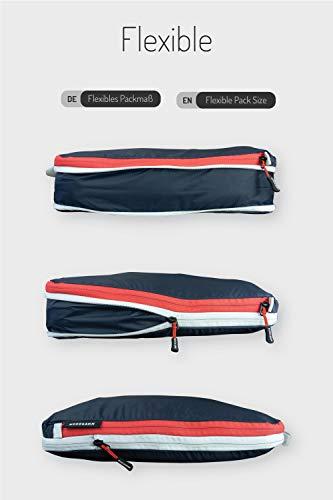 NORDKAMM Packtaschen mit Kompression, Koffer-Organizer, blau, Set M L