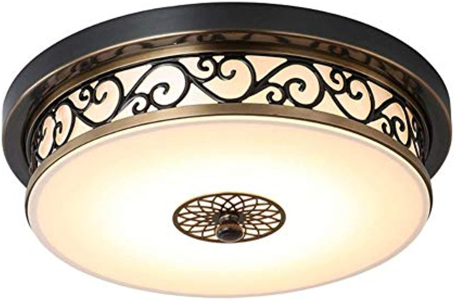 YAYONG Kronleuchter Retro Ceiling Light schwarz Iron Hollow Carved Round Glass Lampen Country House Light,30Cmx30cm