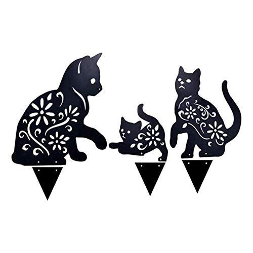 XIHUANNI Figura de gato 2D para decoración de suelo, estatua de gatito realista, escultura de gato de metal para jardín al aire libre, color negro