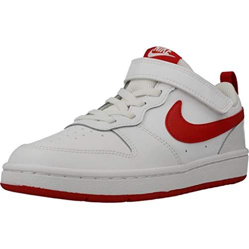 Nike Court Borough Low 2, Zapatillas Baloncesto Niño para Niños, White/University Red, 26 EU