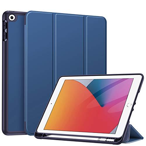 Fintie Hülle für iPad 8. Generation (2020) / 7. Gen (2019) 10.2 Zoll - Superleicht Soft TPU Rückseite Abdeckung Schutzhülle mit eingebautem Pencil Halter, Auto Sleep/Wake, Marineblau