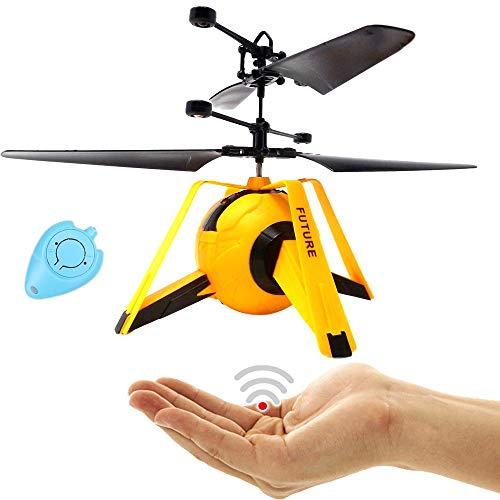RC Drohne Kinder UFO Quadrocopter Hubschrauber mit Sensorsteuerung (Gelb) Einfach zu Steuern per Handbewegung Gestiksteuerung Inklusive IR Fernbedienung Drone Helicopter Neuheit 2020 Drohne für Kinder