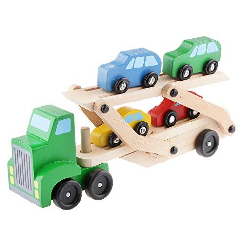 SM SunniMix Camión de Juguete de Madera con Coches Pequeños para Niños de 2, 3 años, con Remolque para Niños en Edad Preescolar, Niños Pequeños, Vehículos de Jueg