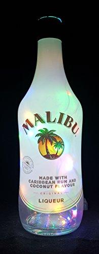 Malibu Rum - Flaschenlampe Lampe mit 80 LEDs Bunt Upcycling Geschenk Idee