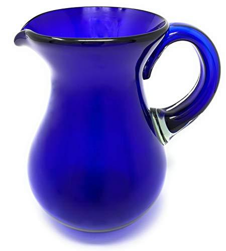 Mexican Hand Blown Glass Pitcher – Cobalt - Juice, Margaritas, Water, Lemonade (84 oz)