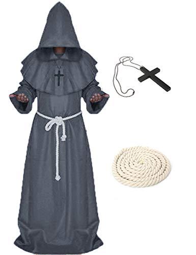 LATH.PIN Costume Monaco Medievale Cosplay Sacerdote Cappuccio Abito Rinascimentale Boia Strega Mago da Magia Nera Halloween Carnevale-Mescara (Grigio, X-Large)