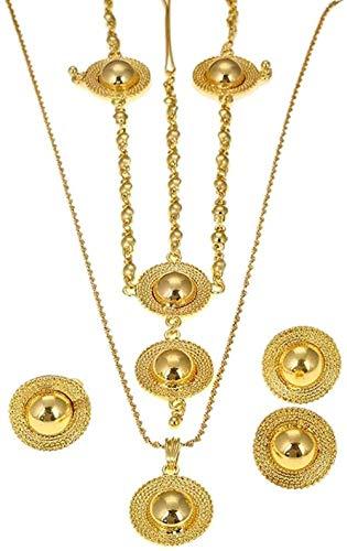 LBBYMX Co.,ltd Collar de Moda Etíope Conjuntos de Joyas Collares Pendientes de Color Pendientes Anillo Brazaletes Regalos de Boda africanos Eritreo