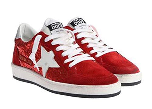 VCEGGDB Zapatos ocasionales para mujer con cordones de cuero zapatillas de deporte de diapositiva superior baja, color Rojo, talla 36 EU
