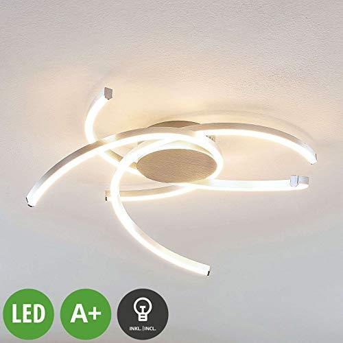 Preisvergleich Produktbild LINDBY LED Deckenleuchte 'Katris' dimmbar (Modern) in Alu aus Aluminium u.a. für Wohnzimmer & Esszimmer (A+,  inkl. Leuchtmittel) - Lampe,  LED-Deckenlampe,  Deckenlampe