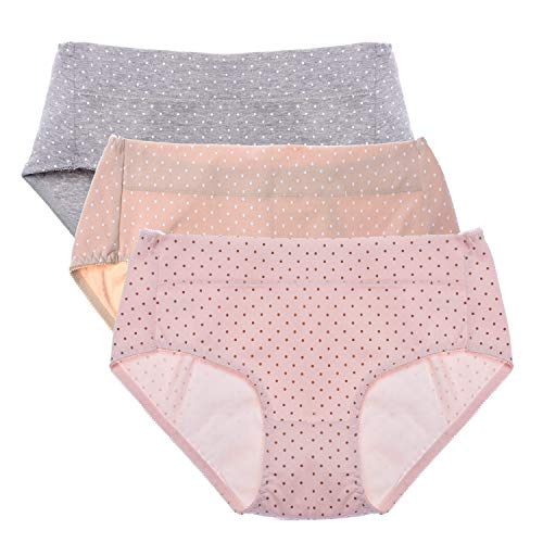 Intimate Portal Women Teens Cotton Leak Proof Underwear 3 Pack Polka Dot M