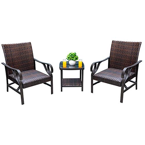 Devoko 3 Pieces Patio Furniture Sets Outdoor Patio Set Wicker Bistro Set Rattan Chair Modern Conversation Sets with Table for Yard and Bistro
