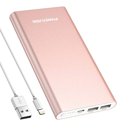 POWERADD Pilot 4GS 12000mAh 8-Pin Input Portable Charger External Battery Pack with 3A High-Speed Output Compatible with iPhone, iPad, iPod and More - Rose Gold (8 Pin Cable Include)