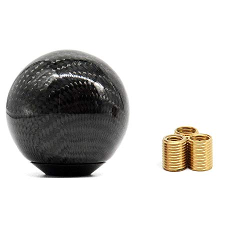 TASAN RACING Universal Round Ball Type Gear Shift Knob with 3 Adapters Gear Shifter Level Carbon Fiber Style Black