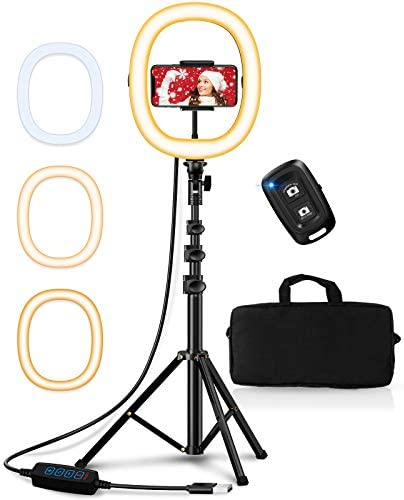 Bcway 10 2 Selfie Ring Light with Tripod Stand and Phone Holder Portable Foldable Led Ringlight product image