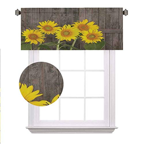 """Sunflower Decor Blackout Valances,Helianthus Sunflowers Against Weathered Aged Fence Summer Garden Photo Print Rod Pocket Window Treatment Tier for Boy/Kids/Master Bedroom,42""""x12"""",Brown Yellow Green"""